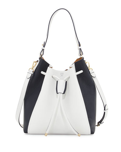 Milla Large Leather Colorblock Bucket Bag, Cloud Dancer