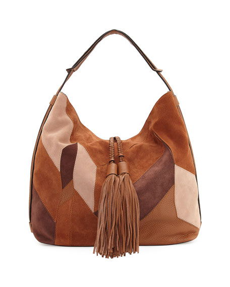 Isobel Mixed-Media Patchwork Hobo Bag, Almond Multi