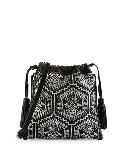 Moto Drawstring Crossbody Bag, White/Black
