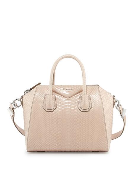Antigona Shiny Python Small Satchel Bag