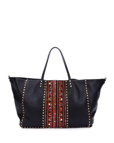 Large Painted Rockstud Tote Bag, Black