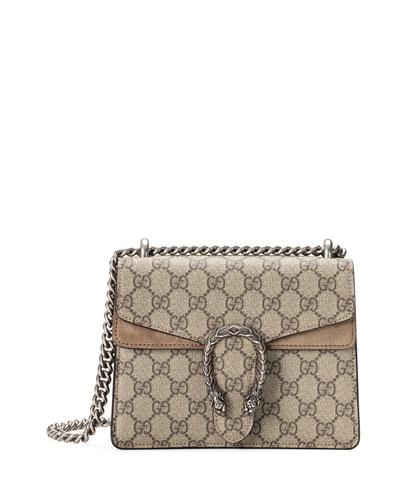 Mini Dionysus GG Supreme Shoulder Bag, Ebony/Taupe
