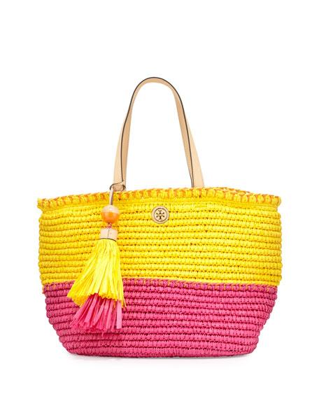 Tory Burch Small Straw Tote Bag, Sunbeam/Orange Crush/Fiesta