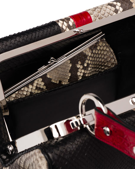 Python/Crocodile Arcade-Stripe Frame Satchel Bag, Natural/Black/Red (Roccia+Nero+Rosso)