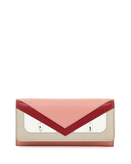 Fendi Monster Leather Wallet-On-Chain, Red/Pink/Taupe