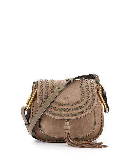 Chloe Hudson Small Suede Shoulder Bag, Light Gray