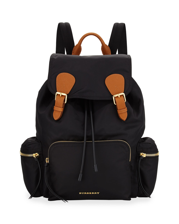 a421af008c Burberry Medium Rucksack Runway Nylon Backpack, Black | Neiman Marcus