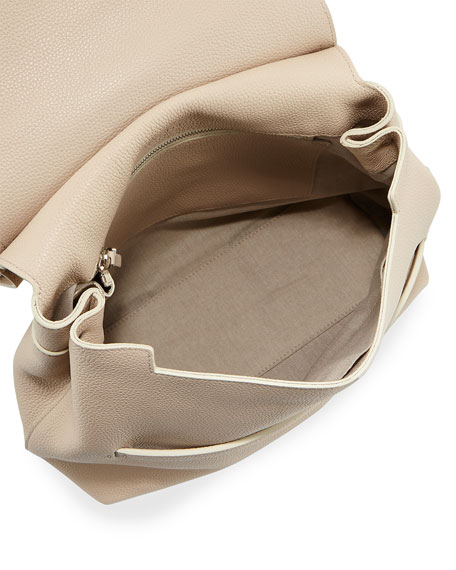 Sideby Calf Crossbody Bag, Tan