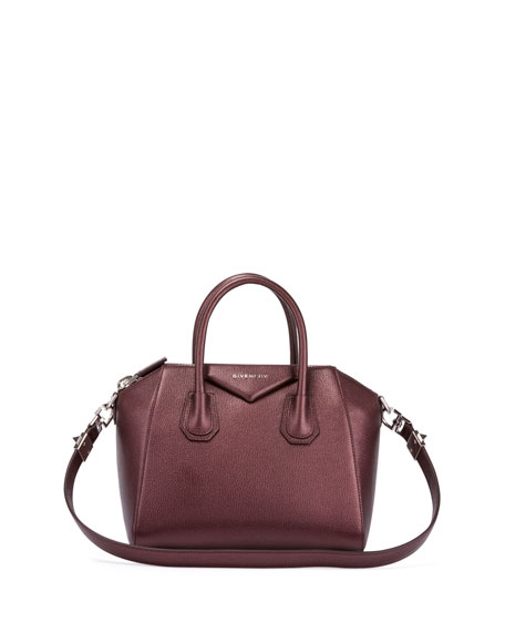 Givenchy Antigona Small Sugar Goatskin Satchel Bag, Oxblood