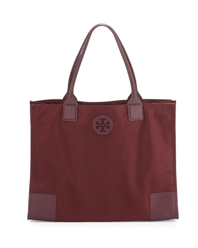 Ella Packable Nylon Tote Bag, Port