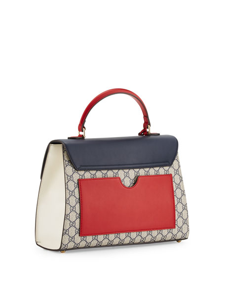 Padlock GG Supreme Top-Handle Satchel Bag, Beige/Blue/Red