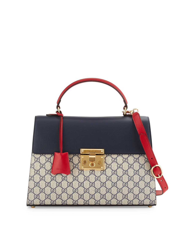 70acdc7704a2 Gucci Padlock GG Supreme Top-Handle Satchel Bag, Beige/Blue/Red ...