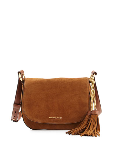 Elyse Large Suede Saddle Bag, Dark Caramel