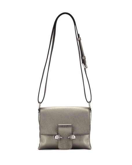 Twin Skull Leather Crossbody Bag, Dark Gray
