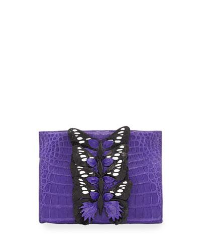 Butterfly Crocodile Small Clutch Bag, Purple/Multi