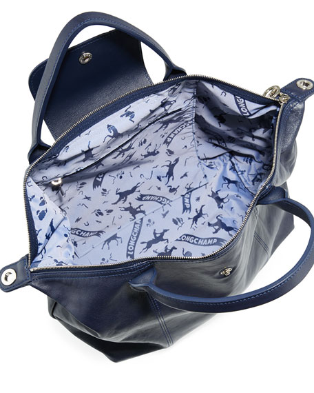 Le Pliage Cuir Handbag with Strap, Navy