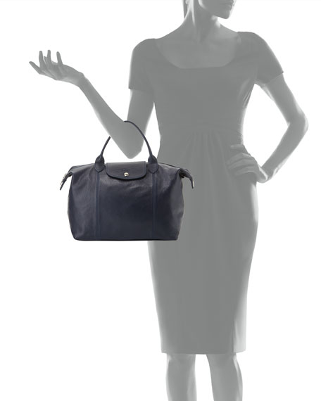 Longchamp Le Pliage Cuir Handbag with Strap, Navy