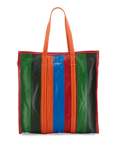 Bazar Medium Striped Leather Shopper Tote Bag, Multi