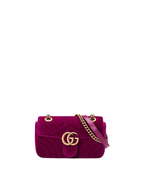 GG Marmont Mini Quilted Velvet Crossbody Bag, Dark Fuchsia