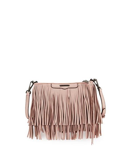 Rebecca Minkoff Finn Leather Fringe Crossbody Bag, Pale