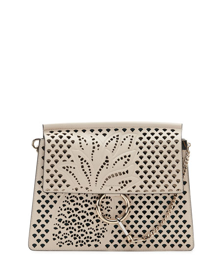 Image 1 of 3: Faye Medium Perforated-Pineapple Shoulder Bag