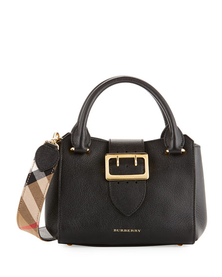 Buckle Small Leather Tote Bag, Black