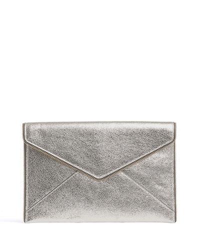 Leo Metallic Leather Clutch Bag  Champagne