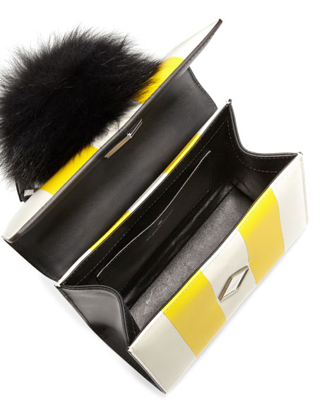 Mini Alex Bunny Striped Satchel Bag, White/Yellow/Black