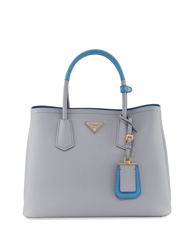 2be67b0f03cb Prada Saffiano Cuir Medium Bicolor Double Tote Bag