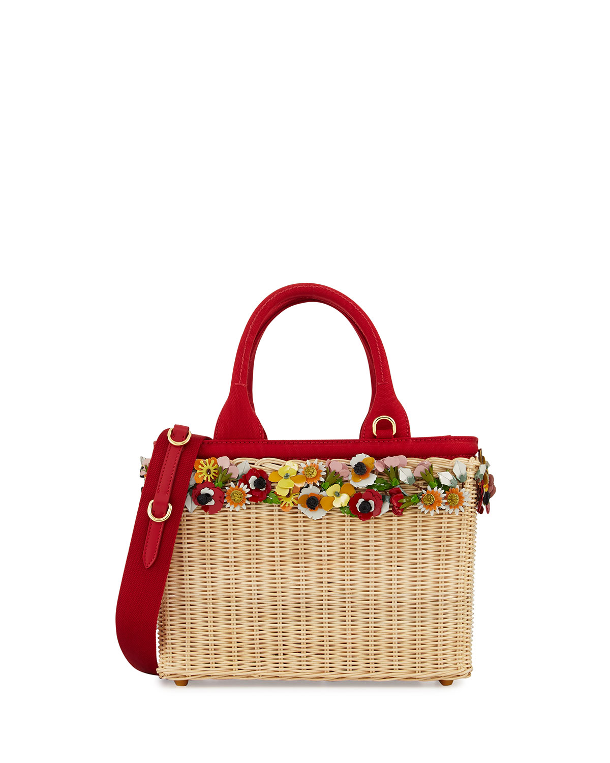 cd22ee9330ed Prada Midollino Garden Flowers Straw Basket Bag