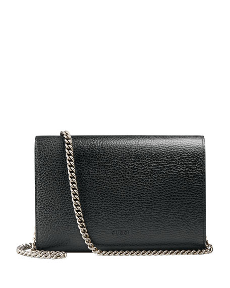 Image 3 of 3: Gucci Dionysus Leather Mini Chain Bag, Black