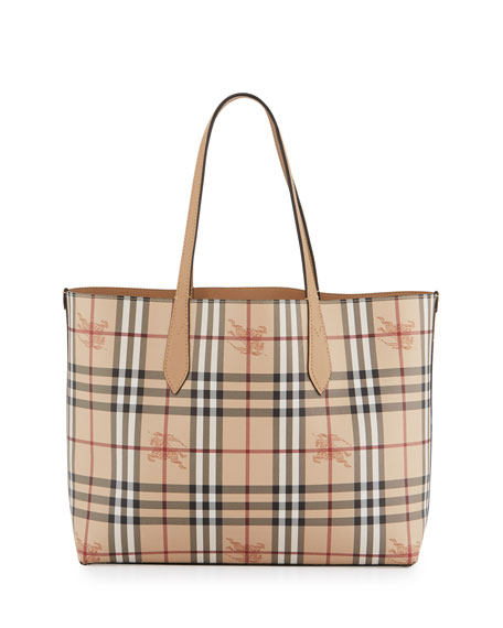 Lavenby Medium Reversible Check & Leather Tote Bag, Brown