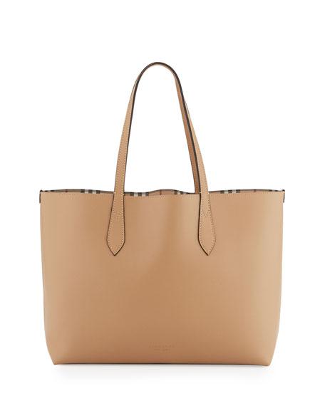 Lavenby Medium Reversible Check Leather Tote Bag Brown