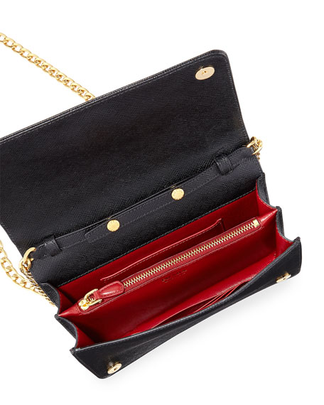 4b1c0ec6f070 ... cheapest prada saffiano flap crossbody wallet on chain neiman marcus  00612 2ba3a