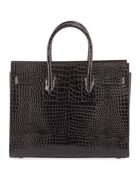 Sac de Jour Small Crocodile-Embossed Satchel Bag - Silver Hardware