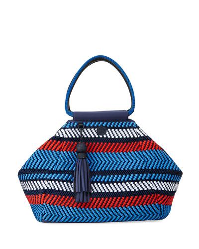 Woven Mesh Triangle Satchel Bag  Multi