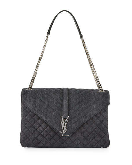 Saint Laurent Sunset Large Denim Chain Shoulder Bag,