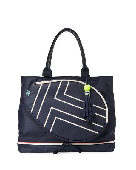 Tory Sport Tennis Coated Racket Tote Bag, Blue