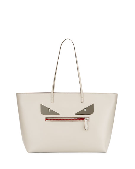 Fendi Roll Monster Face Leather Tote Bag, Gray