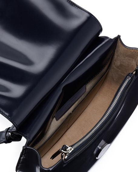 Leather Hunting 9 Shoulder Bag, Navy