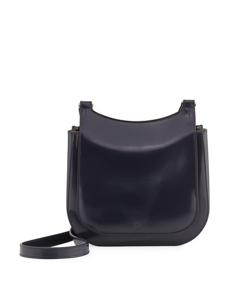 THE ROW Leather Hunting 9 Shoulder Bag, Navy