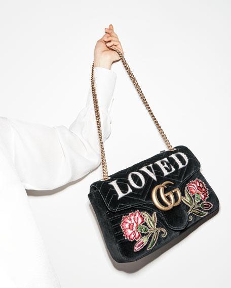 828d4ceb7634 Gucci GG Marmont Medium Embroidered Velvet Shoulder Bag, Black | Neiman  Marcus