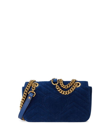 GG Marmont Embroidered Velvet Mini Bag, Cobalt