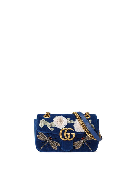 GG Marmont Mini Embroidered Velvet Chain Shoulder Bag