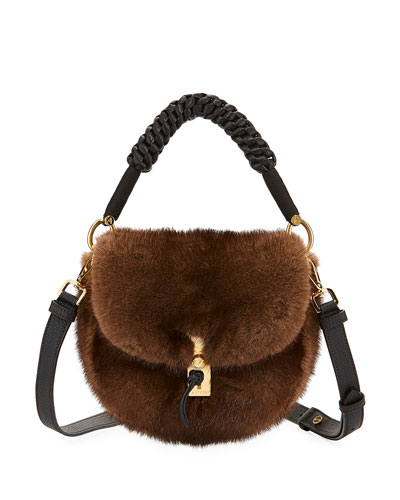 Ghianda Mink Fur Top-Handle Bag