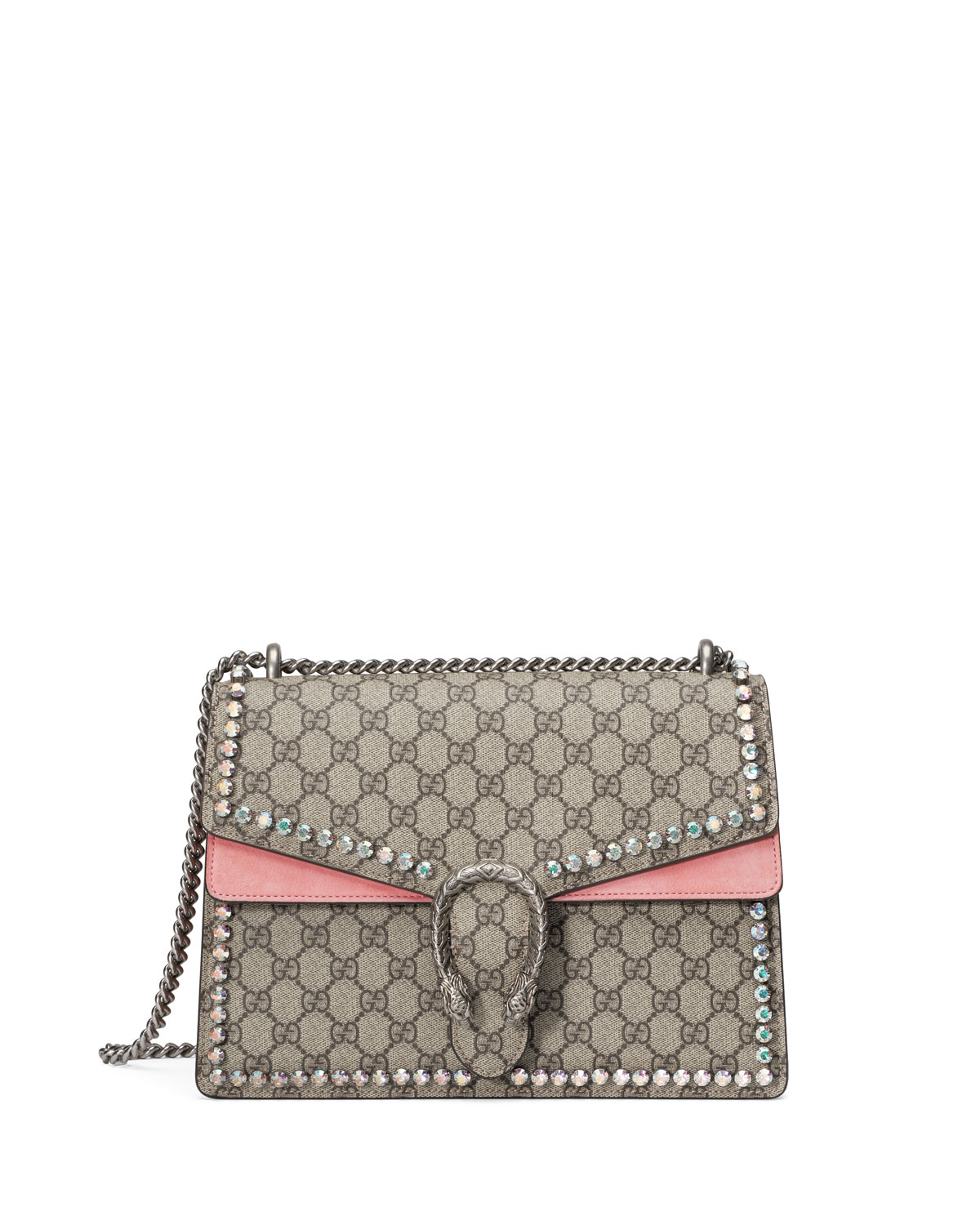 8c93bf332d7 Gucci Dionysus GG Canvas Chain Shoulder Bag with Crystals