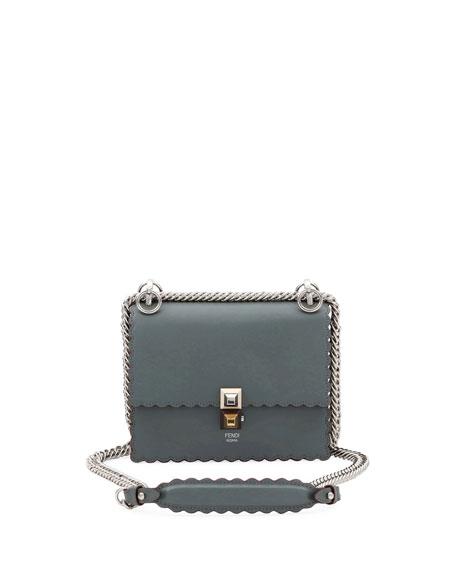 52b8326edb73 Fendi Kan I Small Leather Scalloped Shoulder Bag In Gray