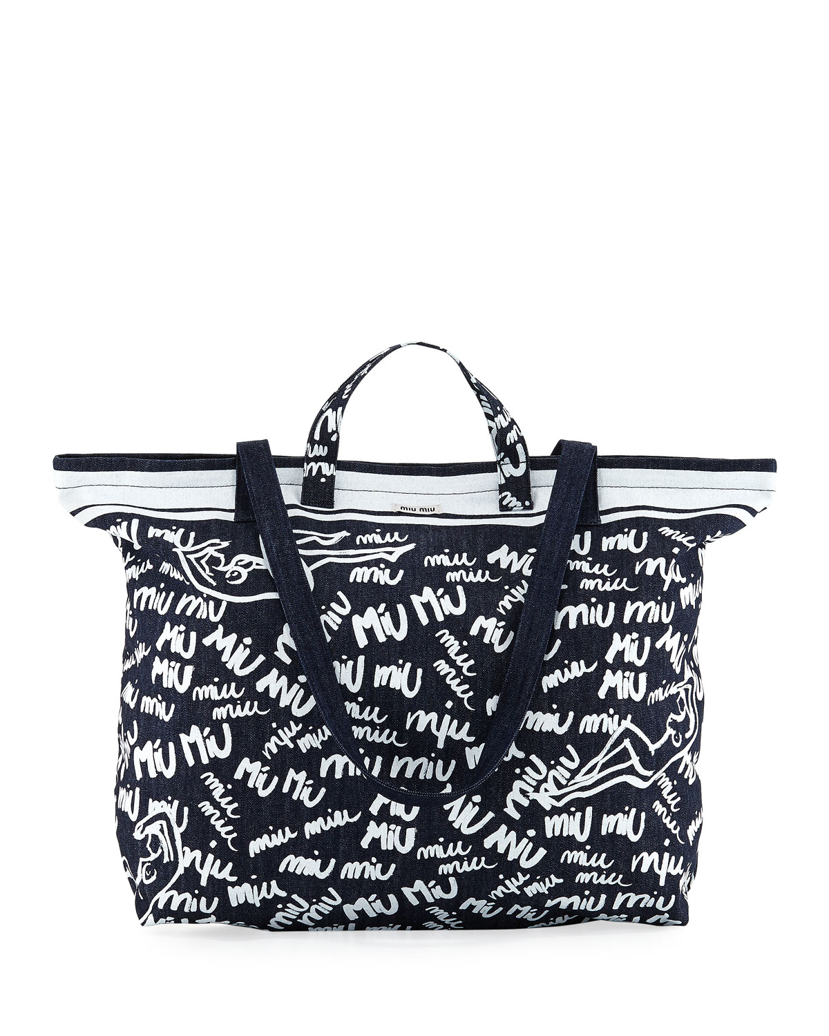 ac0e3b906876 Miu Miu Cat and Dot Printed Denim Tote Bag