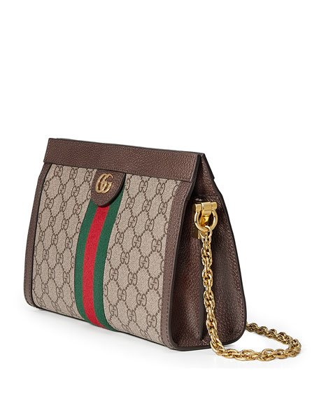 Image 4 of 4: Gucci Ophidia Linea Dragoni Small GG Supreme Canvas Chain Shoulder Bag