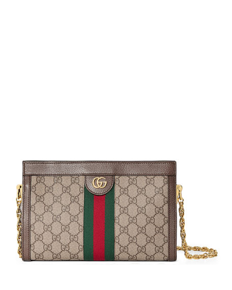 Image 1 of 4: Gucci Ophidia Linea Dragoni Small GG Supreme Canvas Chain Shoulder Bag